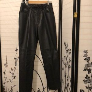 Black leather pants, size 10